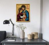 """Immagine di 'Quadro """"Famiglia di Nazareth"""" con lamina oro e cornice dorata - dimensioni 44x34 cm'"""