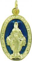 Medaglia Madonna Miracolosa in metallo dorato con smalto blu cm 1,2