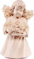 Statuina dell'angioletto con fiori, linea da 10 cm, in legno naturale, collezione Angeli Sissi - Demetz Deur