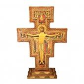 Croce di San Damiano in legno con base - dimensioni 80x56 cm