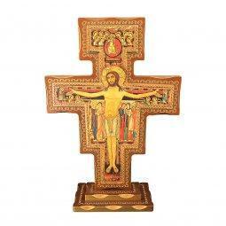 Copertina di 'Croce di San Damiano in legno con base - dimensioni 80x56 cm'