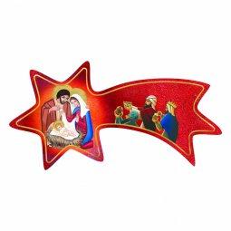 Copertina di 'Cometa rossa in legno da appendere con Natività e Re Magi - dimensioni 6x12 cm'