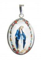 Medaglia Madonna Miracolosa  ovale in argento 925 e porcellana - 3 cm