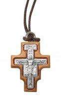 Croce di San Damiano da collo in metallo ossidato su legno ulivo