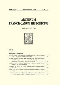 Archivum Franciscanum Historicum n. 2014/3-4