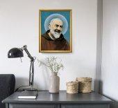 """Immagine di 'Quadro """"Padre Pio"""" con lamina oro e cornice dorata - dimensioni 44x34 cm'"""