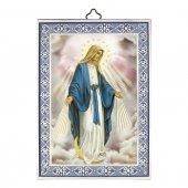 """Icona con cornice azzurra """"Immacolata Concezione"""" - dimensioni 14x10 cm"""