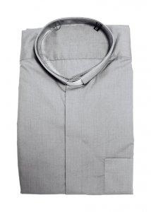 Copertina di 'Camicia clergyman grigio chiaro manica lunga 100% cotone - collo 42'