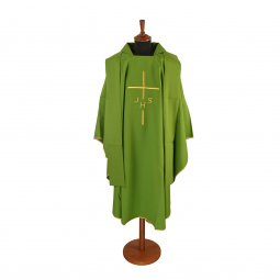 Copertina di 'Casula verde economica con croce e cristogramma IHS ricamati'