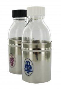 Copertina di 'Coppia bottiglie acqua e vino con corazza - 125 cc'