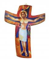"""Croce Padre Rupnik: croce stampa """"tra cielo e terra"""" 8x10,3 cm (Snagov)"""