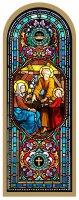 Tavola Sacra Famiglia stampa tipo vetrata su legno - 10 x 27 cm