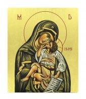 IconaMadonna con Bambino dipinta a mano su legno con fondo orocm 16x19
