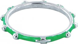 Copertina di 'Fedina rosario argento smaltata verde mm 16'