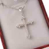 Collana con crocetta a trifoglio in strass e catenina in argento 925