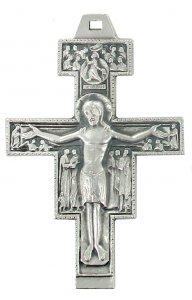 Copertina di 'Croce San Damiano in metallo argentato - 8,5 cm'