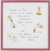 Quadro con Angelo di Dio illustrato e colorato cm 29x29 - cornice in legno Rosa