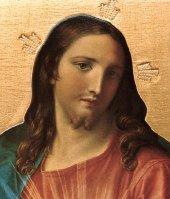 Immagine di 'Tavola Sacro Cuore di Gesù di Pompeo Batoni stampa su legno - 28 x 21 cm'