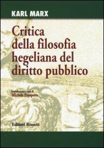 Copertina di 'Critica della filosofia hegeliana del diritto pubblico'