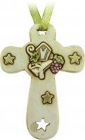 Croce in resina con mitria e stelle cm 8,5