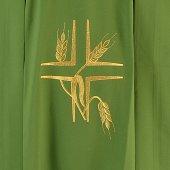 Immagine di 'Casula verde economica con croce e spighe dorate'