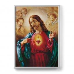 """Copertina di 'Quadro """"Sacro cuore di Gesù"""" con cornice minimal - dimensioni 73x53 cm'"""