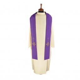 Copertina di 'Stola viola con ricamo a croce e cristogramma IHS'