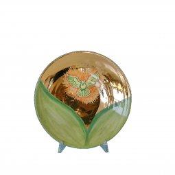 """Copertina di 'Patena in ceramica simbolo IHS """"Modello Tempo liturgico verde"""" - 15 cm'"""