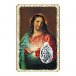 """Copertina di 'Card """"Sacro Cuore di Gesù"""" con preghiera e medaglia - (10 pezzi)'"""