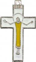 Croce con Cristo risorto in metallo nichelato e smalto - 4,5 cm