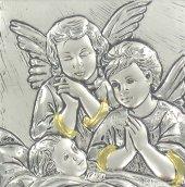 "Immagine di 'Sopraculla ""Angelo custode"" in similpelle con lastra argento - Rosa'"