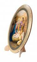 """Immagine di 'Icona ovale in polimero con cavalletto """"Natività"""" - dimensioni 25x20 cm'"""