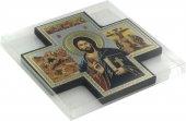 Immagine di 'Croce icona Cristo Libro Chiuso stampa su legno - 15 x 15 cm'