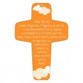 """Croce arancione """"Ave Maria"""" - altezza 13 cm"""