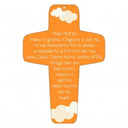 "Copertina di 'Croce arancione ""Ave Maria"" - altezza 13 cm'"