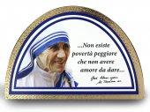 Tavola Teresa di Calcutta stampa su legno ad arco - 18 x 12 cm