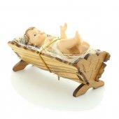 Gesù Bambino con culla in legno d'ulivo - dimensioni 9x4 cm
