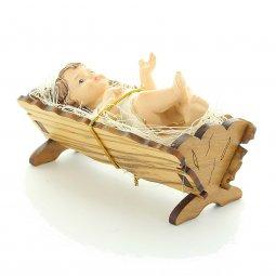 Copertina di 'Gesù Bambino con culla in legno d'ulivo - dimensioni 9x4 cm'