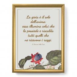 """Copertina di 'Quadro con citazione """"La gioia è il sole dell'anima"""" su cornice dorata - dimensioni 44x34 cm'"""
