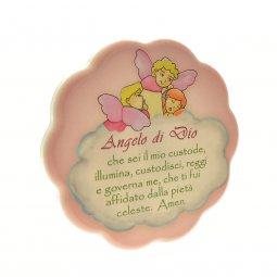 """Copertina di 'Quadretto rosa con nuvola """"Angelo di Dio"""" - dimensioni 11x11 cm'"""