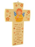 Croce Angelo di Dio effetto pietra - Sfondo giallo di  su LibreriadelSanto.it
