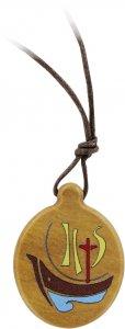 Copertina di 'Ciondolo Anno della Fede ovale in legno d'ulivo con cordone - 2,5 cm'