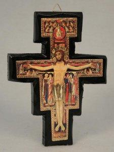 """Copertina di 'Crocefisso in legno """"San Damiano"""" - dimensioni 19x14 cm'"""