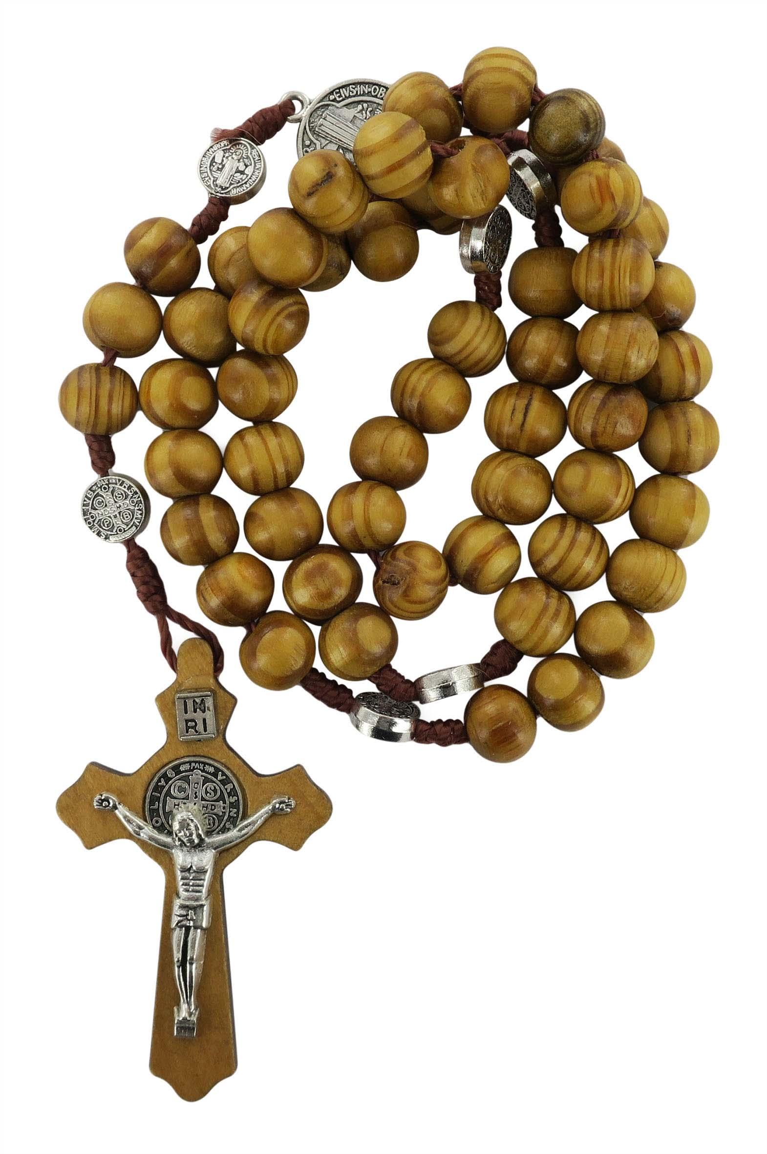 Rosario di San Benedetto in legno d'ulivo, rosario cattolico con ...