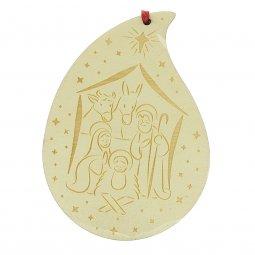 Copertina di 'Goccia di legno con presepe per albero di Natale - altezza 14 cm'