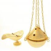 Turibolo e navicella dorati decorati con croci