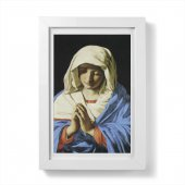 """Quadretto """"Madonna orante"""" con passe-partout e cornice minimal - dimensioni 15x10 cm - Sassoferrato"""