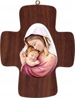 Croce con Madonna bianco-rosso - Demetz - Deur - Statua in legno dipinta a mano. Altezza pari a 16 cm.