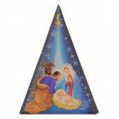 """Magnete blu a forma di albero di Natale stilizzato con """"Natività"""" - dimensioni 8x5,6 cm"""