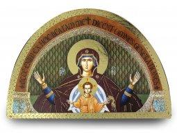 Copertina di 'Tavola Madonna col Bambino stampa su legno ad arco - 18 x 12 cm'